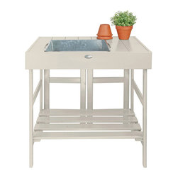 Esschert Design - Potting Table - Expand in the farm folklore collection to make any garden appeal with a country cottage setting! Mix all of your potting soil and tend to all of your gardening needs with this potting table while adding a beautiful decoration to your gardening area.