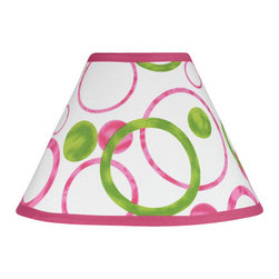 Sweet Jojo Designs - Pink Circles Lamp Shade - Pink Circles Lamp Shade by Sweet Jojo Designs is a beautifully designed childrens lamp shade that is made to fit small desk-sized lamp bases (base not included).  The lampshade attaches securely on the lamp's light bulb socket and the light bulb is twisted in through the opening at the top.Lamp Shade Dimensions: 4x7x10