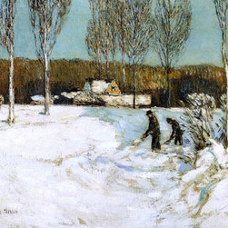 """Frederick Childe Hassam Shoveling Snow, New England   Print - 16"""" x 20"""" Frederick Childe Hassam Shoveling Snow, New England premium archival print reproduced to meet museum quality standards. Our museum quality archival prints are produced using high-precision print technology for a more accurate reproduction printed on high quality, heavyweight matte presentation paper with fade-resistant, archival inks. Our progressive business model allows us to offer works of art to you at the best wholesale pricing, significantly less than art gallery prices, affordable to all. This line of artwork is produced with extra white border space (if you choose to have it framed, for your framer to work with to frame properly or utilize a larger mat and/or frame).  We present a comprehensive collection of exceptional art reproductions byFrederick Childe Hassam."""