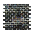 "Glass Tile Oasis - Onyx Uniform Brick Black Bricks Glossy & Iridescent Glass - Sheet size:  11 7/8"" x 11 7/8""        Tile Size:  3/4"" x 1 5/8""        Tiles per sheet:  98        Tile thickness:  1/4""        Grout Joints:  1/8""        Sheet Mount:  Plastic Face     Sold by the sheet     -"