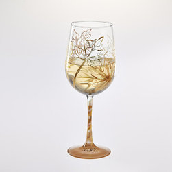 Frontgate - Gold Leaf Hand-painted Wine Glass - Frontgate - Glass holds 18.5 fl. oz.. Glass is also signed by the artist on the bottom of the base. Personalized items are non-returnable. Hand wash. An enchanting scene and elegant detailing make our personalized Gold Leaf Hand-painted Wine Glass a vibrant fall accessory. The elaborate design is hand-painted onto a multipurpose wine glass, including your personalization of up to three initials on the bowl and up to 20 characters on the base. Ideal for gift-giving, each glass comes packaged in a gift box tied with ribbon.  .  .  .  . Made in the USA.
