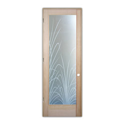 "Sans Soucie Art Glass (door frame material T.M. Cobb) - Interior Glass Door Sans Soucie Art Glass Wispy Reeds 3D Private - Sans Soucie Art Glass Interior Door with Sandblast Etched Glass Design. GET THE PRIVACY YOU NEED WITHOUT BLOCKING LIGHT, thru beautiful works of etched glass art by Sans Soucie!  THIS GLASS PROVIDES 100% OBSCURITY.  (Photo is View from OUTside the room.)  Door material will be unfinished, ready for paint or stain.  Satin Nickel Hinges. Available in other wood species, hinge finishes and sizes!  As book door or prehung, or even glass only!  3/8"" thick Tempered Safety Glass.  Cleaning is the same as regular clear glass. Use glass cleaner and a soft cloth."