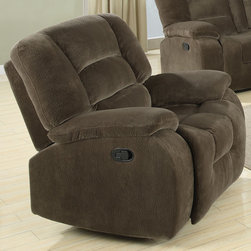 Coaster - Charlie Glider Recliner, Brown Sage - See and feel the softness and ultimate comfort of the Charlie collection. Wrapped in a plush and comfortable textured padded velvet in brown sage, this sofa set is sure to match your home and style. Features high density foam cushions and pocket coil seating.