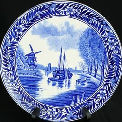 Boch - Antique Transferware Blue Delft Plate Boats - Product Details