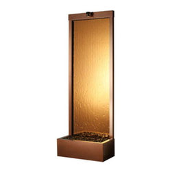 "Bluworld Innovations, Llc - Gardenfall Metaline REAR Mount Fountain 90""H x 32""W Dark Copper w/Bronze Mirror - 90"" Floor fountain with bronze mirror water panel and Dark Copper Frame. Bring nature home with the Gardenfall. The soothing sounds of water gently flowing passed polished river rock will enhance the quality and beauty of your surroundings, as its humidifying and air-cleansing properties improve the air you breathe. The clean, contemporary lines of model GF8WM, with its bronze mirrored surface and dark copper frame, will suit any decor. Quiet and durable, it can be enjoyed both indoors and out year-round."