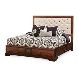 AICO Furniture - Bella Cera 4 Piece Queen Fabric Tufted Panel Bedroom Set - 3801 - Set includes Queen Bed, Nightstand, Dresser, and Wall Mirror