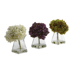 """Nearly Natural - Nearly Natural Hydrangea with Vase (Set of 3) - The Hydrangea is one of the more intricate flower blooms you can gaze upon. It's almost an optical illusion, really - from a distance, it looks like one large bloom, and close up, you see it's many tiny blooms. We've perfectly captured that look, and placed it in a pretty vase, complete with faux water. This is a set of three, so your home or office will really """"pop"""" with these beauties. Makes a great gift, too."""