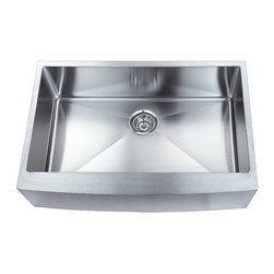 BOANN - BOANN SKR3322 Hand Made Apron Front R15 Single Bowl 33 x 22 1/4 Inch Undermoun - The BOANN Hand Made SKR3322 stainless steel sink is an excellent upgrade/addition to any home. Made from premium grade t304 stainless steel, this sink will not oxidize or rust. Using t304 grade material is more expensive than other grades because it is a higher quality, which is also why it is more durable. This premium grade of stainless steel is generally used in equipment that requires more strength and durability like in cars and machines. T304 stainless steel material is 100% lead free. Tank Depth: 10 Inches, Tank Bevel Radius: 1/2 Inch. Sink includes colander/strainer, plug and Grid.