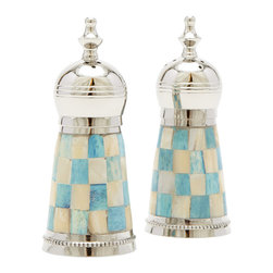 Turqouise Check Mother of Pearl Salt & Pepper Shakers - You'll want to leave these salt and pepper shakers out long after the meal is over. These stainless steel beautiesfeature turquoise and whitemother of pearl inlays in a soft and elegantcheckered pattern.*Each piece is handmade resulting in variations in color and texture. Slight imperfections are expected and a celebrated outcome of the handmade process.