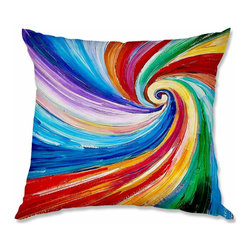 DiaNoche Designs - Pillow Woven Poplin - Lam Fuk Tim Color Vortex - Toss this decorative pillow on any bed, sofa or chair, and add personality to your chic and stylish decor. Lay your head against your new art and relax! Made of woven Poly-Poplin.  Includes a cushy supportive pillow insert, zipped inside. Dye Sublimation printing adheres the ink to the material for long life and durability. Double Sided Print, Machine Washable, Product may vary slightly from image.
