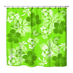 """Surfer Bedding - Eco Friendly Hawaiian """"Aloha Lime"""" Hibiscus and Butterflies Shower Curtain - Hibiscus Shower Curtain from our Aloha Hawaiian Surfer Bedding and Bath Collection."""