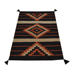 Flat Weave Hand Woven 3'x4' 100% Wool Reversible Black Navajo Design Rug SH16769 - Soumaks & Kilims are prominent Flat Woven Rugs.  Flat Woven Rugs are made by weaving wool onto a foundation of cotton warps on the loom.  The unique trait about these thin rugs is that they're reversible.  Pillows and Blankets can be made from Soumas & Kilims.