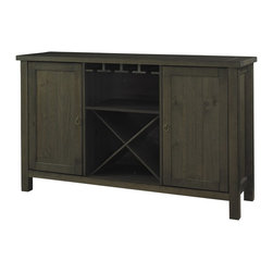 "Powell - Powell Autumn Falls Server X-914-648 - Rough hewn Server conveys a simple utilitarian country lifestyle. The server features oversized legs with rough notches and plank styling on all sides. Two front side doors and 3 central drawers accommodate all your finest settings. Antique Brass hardware complements the reclaimed ""Smoke"" finish appearance. Fully assembled."