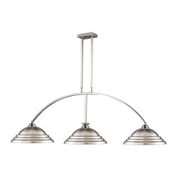 Three Light Brushed Nickel Stepped Brushed Nickel Shade Island Light - Art deco inspired detailing defines this beautiful three light fixture. Finished in brushed nickel and paired with stepped brushed nickel shades, this three light fixture would be equally at home in the game room, or anywhere else in the house needing a touch of timeless charm. Adjustable rods are included to ensure the perfect hanging height.