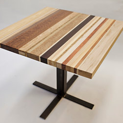 Striped Table - This Striped Table was constructed with random hardwoods to create an beautifully random and eye catching piece.
