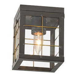 Irvin's Tinware - Single Ceiling Light with Brass Bars in Country Tin - This versatile ceiling light is equally at home whether installed individually in an upstairs hallway or as a pair in a downstairs entryway. It always contributes that special warmth to your home.