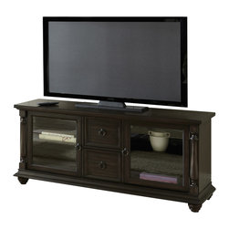 """Steve Silver Furniture - Steve Silver Leona TV Cabinet Table in Dark Hand Rubbed - The classic, contemporary style of the Leona Collection features a deep acacia veneer finish with antiqued fixtures, for a clean, stylish look. The Leona TV cabinet stands 28"""" high, with a spacious 62"""" x 20"""" surface, two convenient storage drawers, and two glass door cabinets."""