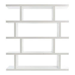 Tema Home - Step High Bookcase - Four thin shelves. Made from mat lacquer, MDF and honeycomb. Pure white finish. Made in Portugal. 64 in. W x 14 in. D x 68 in. H (158.76 lbs.). Assembly InstructionsGet ready for Step, a statement piece in the shape of a shelving unit. Combine as many Step as you will, and create a dazzling effect on your walls with plenty of space for storage.