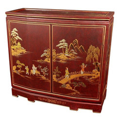 "Oriental Furniture - 32"" Japanese Slant Front Cabinet - Red Landscape - The Japanese Slant Front Cabinet has the feel of an antique with its rustic lacquer finish. Handpainted with a Japanese landscape design, this piece makes a perfect addition to any decor, representing three generations of Chinese woodworking craftsmanship. Hand-crafted by artisans in the Guangdong province of mainland China and employs classic Chinese finishing techniques. A truly unique accent piece that measures 30 inches in height, boasts two doors and brass hardware, and includes two shelves for easy storage."