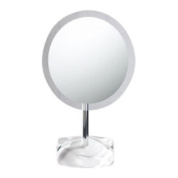 Gedy - Magnifying Mirror with Round White Colored Base - Decorative pedestal magnifying mirror with semi-transparent white thermoplastic base. Pedestal magnifying mirror. Base is made of thermoplastic resins. White colored base. From the Gedy Twist Collection.