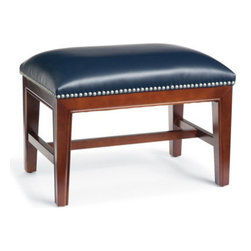 Grandin Road - Harriet Leather Ottoman - Thoughtfully proportioned for go-anywhere versatility. Crafted using custom-dyed textured leather. Individually hand-tacked nailhead trim. Supportive cushioning. Dark espresso wood finish. The architectural wood frame of our Harriet Leather Ottoman creates the perfect counterpoint to its smooth and colorful cushioning. .  .  .  .  . Arrives fully assembled. Imported.