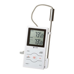 "CDN Dual Sensor Probe Thermometer - The new dual sensing probe thermometer timer is the first in CDN line to measure both the temperature of the oven and the temperature of the food being cooked. Ideal for monitoring roasts and other meats in the oven or on the bbq.  Built in timer.      Product Features                          Instrument Range: 32 to 572 DegreesF/0 to 300 DegreesC            10 hrs by hr/min/sec            6.75"" (17.0 cm) probe with 39"" (1 m) sensor cable (heat resistant up to 600 DegreesF/315 DegreesC)            High heat probe            Programmable            Dual function            Dual progress display            Overtime alert            Counts up/down            Big digit            Alarm            Stop & restart            Counts up after zero            Food-safe ABS            304 stainless steel probe            On/off button            Temperature guide on thermometer            2-way mounting: magnet/stand            1.5V AAA IEC LR03 Alkaline"