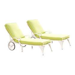 Home Styles - Home Styles Biscayne White Chaise Lounge Chairs Set of 2 Green Apple Cushions - Home Styles - Patio Lounges - 55528312 - Create an intimate conversation area with Home Styles Biscayne Chaise Lounge Chair