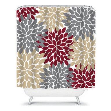 Shower Curtain Flower Bursts Dahlia 71x74 Bathroom Decor Made in the USA - DETAILS:
