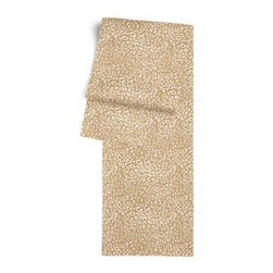 Tan Leopard Print Custom Table Runner - Get ready to dine in style with your new Simple Table Runner. With clean rolled edges and hundreds of fabrics to choose from, it's the perfect centerpiece to the well set table. We love it in this tan and white woven leopard animal print.  Welcome to the jungle!