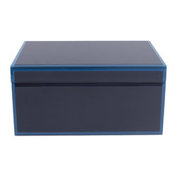 WOLF - Large Glass Jewelry Box, Blue - The Royal collection is a handsome assortment of glass jewelry boxes in rich, saturated hues. Dark blue has been applied to the underside of the glass for a heightened sense of depth, and the bevelled edges are treated in a similar fashion with light blue for contrast.