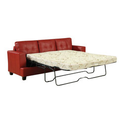 """ACMACM15063 - Diamond Red Bonded Leather Match Upholstered Pull Out Sleeper Sofa - Diamond red bonded leather match upholstered pull out sleeper sofa with queen pull out mattress. Measures 86"""" x 37"""" x 36""""H. Some assembly may be required."""