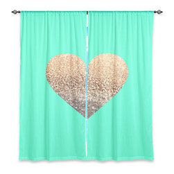 """DiaNoche Designs - Window Curtains Lined by Monika Strigel Gatsby Gold Mint Heart - DiaNoche Designs works with artists from around the world to print their stunning works to many unique home decor items.  Purchasing window curtains just got easier and better! Create a designer look to any of your living spaces with our decorative and unique """"Lined Window Curtains."""" Perfect for the living room, dining room or bedroom, these artistic curtains are an easy and inexpensive way to add color and style when decorating your home.  This is a woven poly material that filters outside light and creates a privacy barrier.  Each package includes two easy-to-hang, 3 inch diameter pole-pocket curtain panels.  The width listed is the total measurement of the two panels.  Curtain rod sold separately. Easy care, machine wash cold, tumble dry low, iron low if needed.  Printed in the USA."""