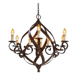 Currey and Company - Gramercy Chandelier - The intriguing curves of its broad iron bands with a warm Mayfair finish make this chandelier a most appealing example of the blacksmith?s art.