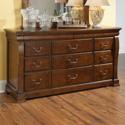 """American Drew - American Drew Laurel Springs 11 Drawer Dresser in Aged Bourbon - The bedroom cases feature spacious drawers with solid wood fronts. The 70"""" tall panel bed has raised panels and heavy moldings, while the sleigh bed has clean, dramatic lines and a simple platform base footboard. An upholstereorage/Spice Racks & Containers,Kitchen & Dining/Kitchen Storage/Spoon Rests/Kitchen & Dining/Kitchen Storage/Utensil Crocks.Kitchen & Dining/Kitchen Storage/Utensil Racks!Kitchen & Dining/Large Appliances2Kitchen & Dining/Large Appliances/Air Conditioners/Kitchen & D - 216-130.  Product features: Belongs to Laurel Springs Collection by American Drew; Solid wood fronts; Deep, aged bourbon finish; Rustic maple veneers; 11 Drawers; RSF Drawer Felt Lined; LSF w/ Jewelry Tray. Product includes: Dresser (1). 11 Drawer Dresser in Aged Bourbon belongs to Laurel Springs Collection by American Drew."""