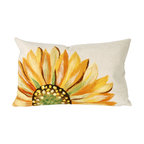 """Trans-Ocean Inc - Sunflower Yellow 12"""" x 20"""" Indoor Outdoor Pillow - The highly detailed painterly effect is achieved by Liora Mannes patented Lamontage process which combines hand crafted art with cutting edge technology. These pillows are made with 100% polyester microfiber for an extra soft hand, and a 100% Polyester Insert. Liora Manne's pillows are suitable for Indoors or Outdoors, are antimicrobial, have a removable cover with a zipper closure for easy-care, and are handwashable.; Material: 100% Polyester; Primary Color: Yellow;  Secondary color: green; Pattern: Sunflower; Dimensions: 20 inches length x 12 inches width; Construction: Hand Made; Care Instructions: Hand wash with mild detergent. Air dry flat. Do not use a hard bristle brush."""