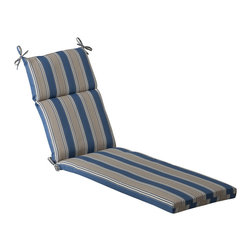 Pillow Perfect - Pillow Perfect Outdoor Blue/ Tan Striped Chaise Lounge Cushion - Redecorate your porch with these polyester chaise lounge cushions. The cushion is made of polyester and is protected against UV radiation,so it maintains its color even under a glaring sun. It is filled with a polyester blend for maximum durability.