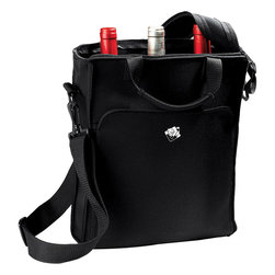 Wine Enthusiast - Wine Enthusiast 3-Bottle Zippered Neoprene Wine Tote Bag - -Black messenger bag style with Wine Enthusiast logo silk-screened in white