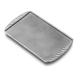 Frontgate - Grillware Griddle - Crafted from durable Armetale metal, a non-toxic aluminum-based alloy. Grill and serve in the same piece. Keeps your food hot longer on the table. Grill, oven, stovetop, freezer, and refrigerator safe. Resists rust. Grill mouth-watering pancakes, crispy bacon, or gooey grilled cheese all while enjoying the great outdoors with family and friends. The Grillware Griddle is grill-safe for backyard brunches, tailgates, and even camping trips. When you finish grilling, the griddle does double-duty as a serving piece on your outdoor table, making cleanup a snap.  .  .  .  .  . Wash with mild soap, rinse, and towel dry; not dishwasher safe . Lifetime manufacturer's warranty against breakage .
