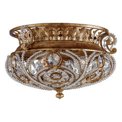 Quoizel - Quoizel LS1813GF La Crysta Traditional Flush Mount Ceiling Light - The sparkling crystals wrapped within graceful curves are reminiscent of vintage Hollywood glamour -- luxurious, elegant and indulgent. This decadent look enhances formal or eclectic room decor.