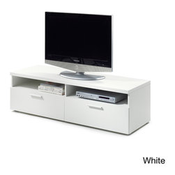 None - Hayward Modern 55-inch TV Stand - Add modern appeal to your living area with this Hayward TV stand,available in black or wood grain white. Clean and contemporary,this two-drawer TV stand features two media console shelves and is finished with cord cut-outs along the back.