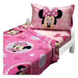Jay Franco and Sons - Minnie Mouse Twin Sheet Set Cameo Hearts Bedding - FEATURES: