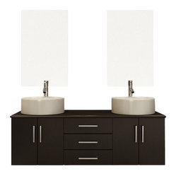 "59"" Phoenix Double Vessel Sink Wall-Mounted Modern Bathroom Vanity Cabinet"