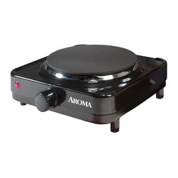 Aroma - Single Burner Hot Plate - Non-stick heating surface. Easy to clean. Full-range temperature control. Perfect for dorms, offices traveling and entertaining. Cast iron heating element provides fast, even heat. Four different temperature settings. Warranty: One year limited. Made from die-cast metal. Black finishGive your kitchen some added flexibility with this electric range from Aroma - perfect when you're entertaining large groups, compact when you're making lunch at the office and durable when you're camping at the beach. Can be used for cooking and serving. It's the perfect addition to your home, office, dorm or even camper!