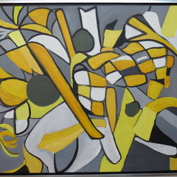 "Making Lemonade by Hand (Original) by Karen Ann Victoria O'Brien - I worked with a wonderful teacher of abstract art last year and he taught me to ""see"" differently which opened up a whole new world. Titles are important to me. This was a series and I thought it reminded me of the counter top in a nice stainless steel kitchen after I have been ""creative"". This can be hung vertically or horizontally."