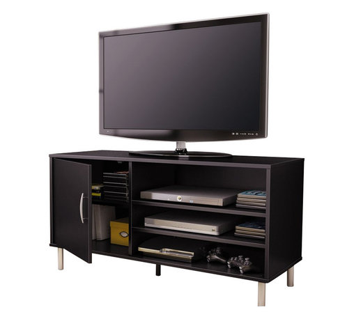 South Shore - South Shore Renta TV Stand with Door in Pure Black - South Shore - TV Stands - 4507676 - An affordable choice: The combination of closed and open storage spaces in this modern-design TV stand from the Renta Collection makes it a highly functional piece. Its simple lines and metallic touches make for a contemporary style that goes well in any