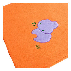 """Blancho Bedding - [Purple Hippo - Orange] Applique Coral Fleece Baby Throw Blanket (29.5""""-39.4"""") - The Embroidered Applique Coral Fleece Baby Kids Throw Blanket measures 29.5 by 39.4 inches. Whether you are adding the final touch to your bedroom or rec-room, these patterns will add a little whimsy to your decor. Machine wash and tumble dry for easy care. Will look and feel as good as new after multiple washings! This blanket adds a decorative touch to your decor at an exceptional value. Comfort, warmth and stylish designs. This throw blanket will make a fun additional to any room and are beautiful draped over a sofa, chair, bottom of your bed and handy to grab and snuggle up in when there is a chill in the air. They are the perfect gift for any occasion! Available in a choice of whimsical kid-friendly prints to spark the imagination, the blanket is durable enough to look great on the go."""