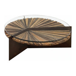 EcoFirstArt - Mandala Coffee Table - Coffee talk never looked so stately. Pieces of past tables are repurposed in assembling this piece with its multiple personalities. A team of artisans and accomplished craftsmen make the most of the wood's organic character in creating this one-of-a-kind table. Bring the charm of salvaged wood into your entertaining space for a lively centerpiece of discussion.