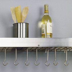 "36¼"" x 9"" x 11½"" Satin Nickel Bookshelf Rack w/ Grid,12 Hooks, RTA - Satin Nickel ""Bookshelf"" Pot Rack.  Professional style storage for any kitchen.  Includes grid, 12 hooks, mounting hardware.  Made of Heavy Gauge Steel, the Satin Nickel Finish is lacquered for easy maintenance. Assembly required. 36¼""Wx9""Dx12""H"