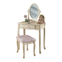 Powell - Powell Off-white and Pastel Pink Vanity,Mirror and Bench - Add Victorian romance to your decor with this vanity set finished in ivory and accented by Queen Anne legs. Perfect for your powder room or bedroom,this pretty ensemble includes a bench with pink upholstery and a dresser topped by an oval mirror.