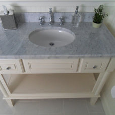 Transitional Powder Room by Portofino Tile and Bathroom Remodeling Center